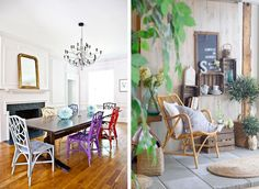 Rattan Furniture ~ LOVE these chairs and the colors