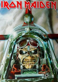 Official Iron Maiden Postcard measuring approx 150mm x 105mm featuring the Aces High design Global Merchandising Services Officially Licensed