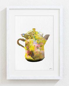 Coffee Pot Art Watercolor Painting - 5x7 Archival Print - Colorful Art Coffee Print, Coffee Lover - Silhouette Art Wall Decor, Kitchen Decor...