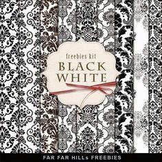 Freebies Papers Kit - Black & White:Far Far Hill - Free database of digital…