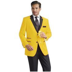 SKU#YLQ22 Yellow Two Button Notch Party Suit Tuxedo Blazer w/ Black... (38,545 INR) via Polyvore featuring outerwear, jackets, blazers, lapel jacket, tux blazer, tuxedo jacket, tuxedo blazer and black tuxedo blazer