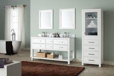 Avanity Brooks Freestanding Double Bathroom Vanity Base in White Bathroom Vanity Base, Vanity Set, Bathroom Vanities, Bathroom Ideas, Bathroom Designs, Modern Bathroom, Linen Cabinet, Vanity Cabinet, Granite Vanity Tops