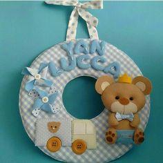 Guirlanda slim ursinho. Tecido e feltro. Porta de maternidade para menino.