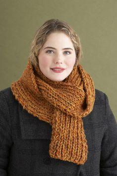 Free Knitting Pattern 80021AD 2 1/2 Hours or Less Rib Scarf : Lion Brand Yarn Company