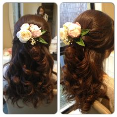 Half up half down wedding hair.  DIY flowers with my second hair trial by Miss Aimmey  http://missaimmey.com/