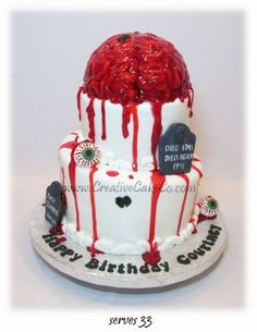 2 tier brain zombie cake by Creative Cake Co..