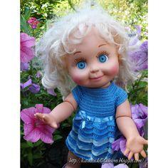 KasatkaDollsFashions: Совместное вязание платьица Морской Бриз для фейсинок (Galoob Baby Face Dolls)
