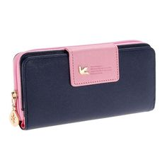 Two Fold Wallet Long Zipper Purse Card Phone Holder