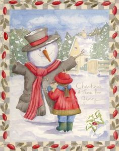 Snowman in large winter jacket and red scarf