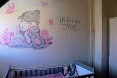 Babykamer muurschildering door Saskia de Wit Baby Room Decor, Nursery Room, Girl Nursery, Girl Room, Girls Bedroom, Kids Wall Murals, Tatty Teddy, Welcome Baby, Project Nursery