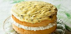 Feather sponge cake with passionfruit icing recipe – By FOOD TO LOVE, Feather sponge filled with clouds of whipped cream and topped with passionfruit icing. Baking Recipes, Dessert Recipes, Desserts, Cupcake Cakes, Cupcakes, Poke Cakes, Layer Cakes, Sponge Cake Recipes, Classic Cake