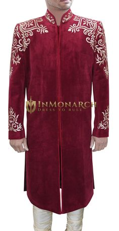 Traditional Gold-Embroidered Merlot-Red Sherwani We roll out a record number of Sherwanis every year. Each one is checked at every stage for stellar quality. Sherwani Groom, Wedding Sherwani, Royal Fashion, Mens Fashion, Formal Wear, Formal Dresses, Little Boy Outfits, Traditional Dresses, Indian Wear