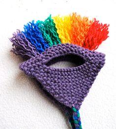 Mohawk Cat Hat Purple & Rainbow Hand Knit Cat by bitchknits- - Hand stricken - Crochet Dog Clothes, Pet Clothes, Crochet Hats, Mohawk, Knitted Cat, Cat Sweaters, Pet Fashion, Cat Hat, Dog Pattern