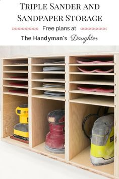 Get all your sanders and sandpaper in one place with this easy to build sander and sandpaper storage rack! Free woodworking plans at The Handymans Daughter! | workshop organization | workshop storage | sander storage | sandpaper organization