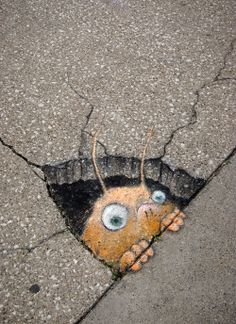 Week 1, Drawing: Chalk Artist David Zinn brings imagination to life with his blog, Sluggo on the Street.