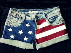 What Are You Looking At: American flag shorts.