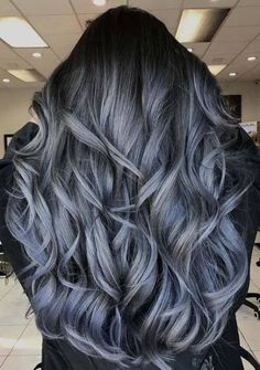 Alluring Charcoal & Blue Grey Hair Color Ideas for 2018 - Couleur Cheveux 02 Blue Grey Hair, Grey Ombre Hair, Silver Grey Hair, Ombre Hair Color, Hair Color Balayage, Cool Hair Color, Grey Hair With Blue Highlights, Grey Hair Colors, Grey Curly Hair