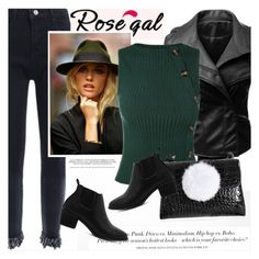 """ROSEGAL.com"" by vict0ria ❤ liked on Polyvore featuring H&M, leatherjacket, ankleboots, pompom, sweatervest and rosegal"