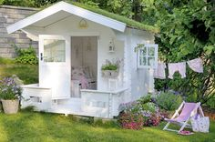 cute white summerhouse ~ lovingly repinned by www.skipperwoodhome.co.uk