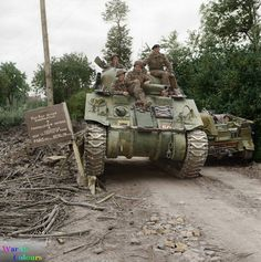 Sherman tank of HQ 29th Armoured Brigade, 11th Armoured Division, near Mondrainville, Lower Normandy. 11th July 1944.