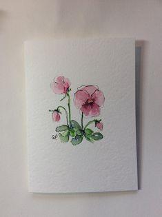 Pink Pansies Watercolor Card / Hand Painted Watercolor Card