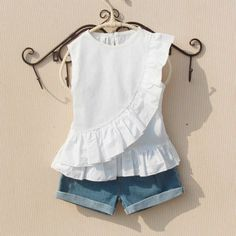 Girls Summer Blouse 2019 Teenage School Girls Tops and Blouses Cotton White Shirt for Girl Solid Red Shirts Children Clothing, Ropa de niña, Frocks For Girls, Dresses Kids Girl, Kids Outfits, Baby Dresses, Dress Girl, Baby Dress Design, Frock Design, Shirts For Girls, Kids Shirts
