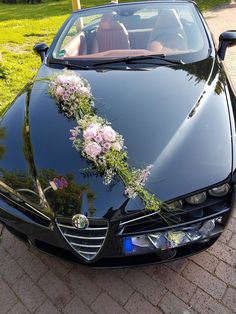 """Blumendekoration für ein Cabriolet The bride wrote to us about our car jewelry: """"Great praise once again for this wonderful achievement!"""" Summery decoration with hydrangea and pink roses, worked diagonally for the car. Our floristry wi Wedding Car Decorations, Wedding Themes, Flower Decorations, Diy Wedding, Wedding Flowers, Wedding Venues, Dream Wedding, Bridal Car, Ballroom Wedding"""