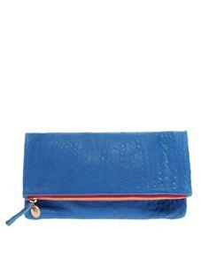 Enlarge Clare Vivier Royal Blue Foldover Clutch