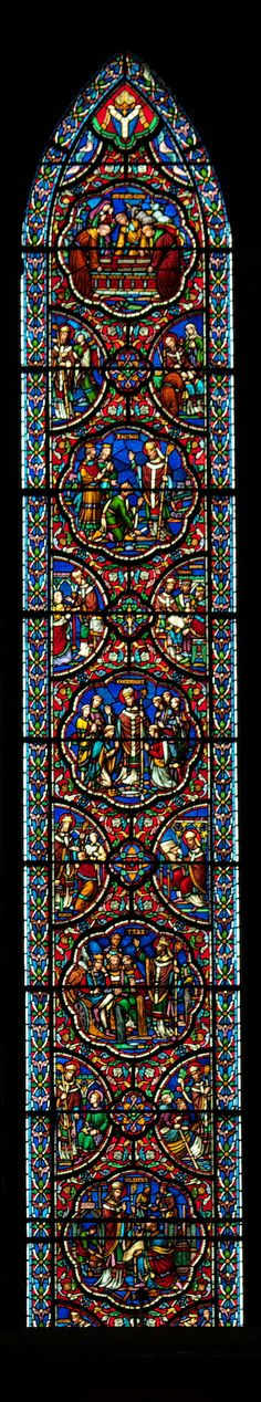 Saint Patrick's Cathedral in Dublin, Ireland ... close-up on the center stained glass window...