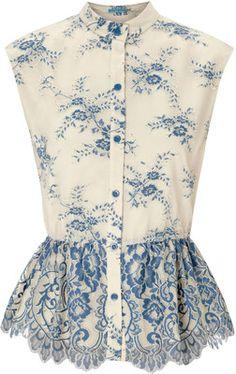 Alice + Olivia Payton cream and blue pleated peplum lace top