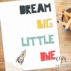 Dream Big Little One Digital Print Rocket Ship by egmDESIGNS