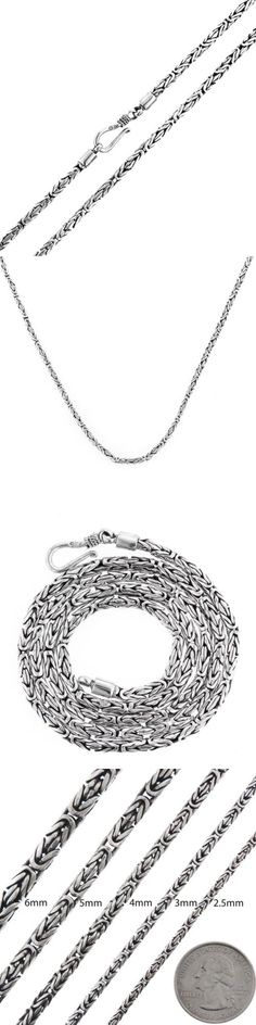 Precious Metal without Stones 164330: 2.5Mm Byzantine Bali Handmade Solid 925 Sterling Silver Chain Necklace, 16-30 -> BUY IT NOW ONLY: $84.95 on eBay!