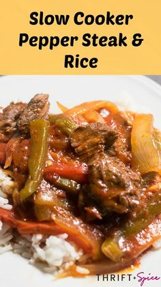 This slow cooker Pepper Steak and Rice recipe is the perfect meal to cook in your slow cooker this Fall and Winter. This Slow Cooker Pepper Steak and Rice recipe is the perfect meal for the Fall and Winter weather. Crockpot Pepper Steak, Slow Cooker Steak, Crock Pot Slow Cooker, Slow Cooker Recipes, Beef Recipes, Cooking Recipes, Recipe For Pepper Steak And Rice, Jamaican Pepper Steak Recipe, Recipes