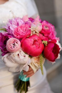 Peonies, roses, and ranunculi in shades of pink                                                                                                                                                      More
