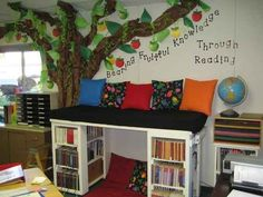 Create a two-tier book loft with bookshelves.