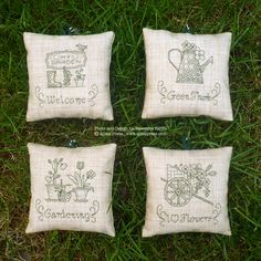IN THE GARDEN by Valentina Sardu for Ajisai Designs. A set of 4 blackwork charts (Welcome, Green Thumb, Gardening, I love Flowers), which can be worked individually or grouped together. Stitch count for each motif: 38 x 38