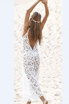 Day TripperAprès Sol Backless Lace Summer Dress Gorgeous swimsuit cover up or Après sun dress. Small to Medium Hand wash or machine wash delicate, line dry or