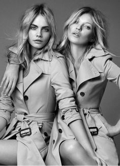 Our favourites, Kate and Cara personify the iconic British brand Burberry magnificently.