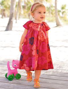 DRESS RED DARK ALL OVER PR - vertbaudet enfant