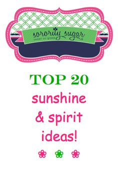it's important for every sorority to boost moral and keep chapter spirits high! recognize your sisters, make them smile and spread sisterhood cheer with these sorority sugar sunshine ideas! <3 BLOG LINK:  http://sororitysugar.tumblr.com/post/69095150335/sorority-sunshine-and-spirit-ideas#notes
