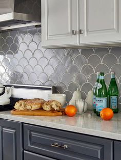 Grey Moroccan Fish Scale Kitchen-Mercury Mosaics