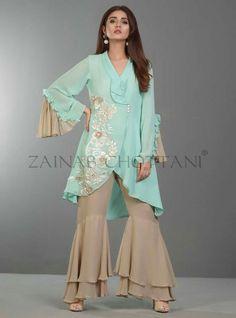 Green Water Pakistani Casual Wear Dress Buy Online in UK - Pakistani Casual Wear, Pakistani Dress Design, Pakistani Outfits, Pakistani Bridal, Stylish Dresses, Simple Dresses, Women's Fashion Dresses, Casual Dresses, Fashion Pants