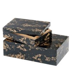 Modern Day Accents Huseo Negro Golden Bone Boxes - Set of 2 - 5022