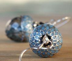 MY LITTLE ACORNSilverblueczech glass earrings by AmberSky on Etsy