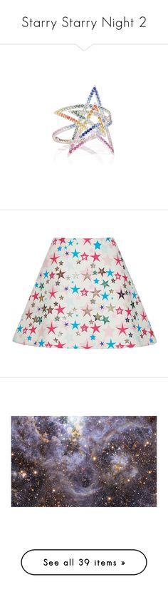 """Starry Starry Night 2"" by jckyleeah ❤ liked on Polyvore featuring stars, starprint, skirts, mini skirts, bottoms, delpozo, white, white skirt, white high waisted skirt and high-waist skirt"