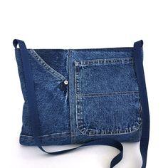 Bandolera reciclada, bolso lateral del pequeño jean azul, bolsa de mezclilla niñas, jean cruz cuerpo monedero, denim vegano Cruz sobre monedero, monedero del dril de algodón