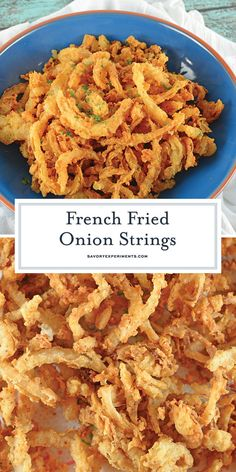 French Fried Onion Strings - An Amazing Fried Onion Strings Recipe - French Fried Onion Strings are buttermilk soaked and lightly seasoned fried onions. Perfect for topping burgers, a snack or even a green bean casserole! Fried Onions Recipe, Baked Onions, Crispy Onions, Fried Onion Straws Recipe, Fries Recipe, Homemade Onion Rings, Onion Rings Recipe, Baked Onion Rings, Onion Recipes