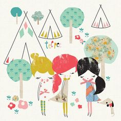 """Teepee Trio"" Girl's Canvas Wall Art by Jillian Phillips for Oopsy Daisy, size 14x14 $69"