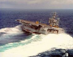 USS Nimitz CV68 executing a high-speed turn | Thank you P.A. Hollandsworth for the correction -DAJ