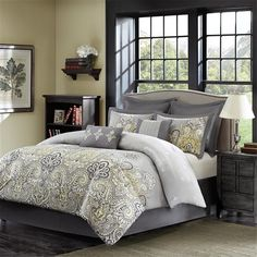 Give your room a update with the Orrissa collection. The bottom portion of the comforter features a beautiful engineered paisley pattern in shades of grey with a pop of yellow printed on 100% cotton. The top of the comforter is a solid grey ground with small motifs that coordinate back to the print on the bottom. The sham features the paisley motif and is taylored with a solid grey flange. The set includes two solid grey euro shams and a taylored solid grey bedskirt, both made of 100% ...